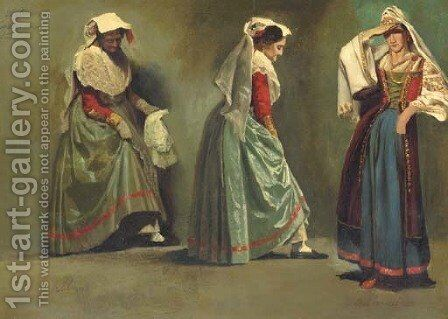 Italian Costume Studies by Albert Bierstadt - Reproduction Oil Painting