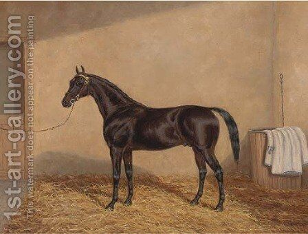 A bay racehorse in a stable by A. Clark - Reproduction Oil Painting