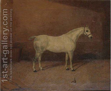 A dappled grey hunter in a stable by A. Clark - Reproduction Oil Painting