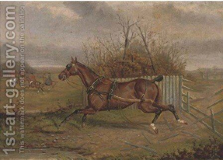 Joining the hunt by A. Clark - Reproduction Oil Painting