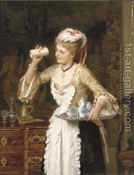 An inquisitive maid by Albert Conrad - Reproduction Oil Painting