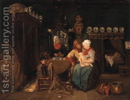 A family in a kitchen interior by Albert Dillens - Reproduction Oil Painting