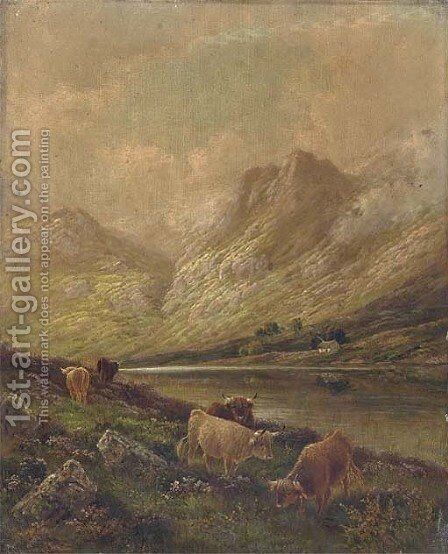 Highland cattle by Albert Dunnington - Reproduction Oil Painting