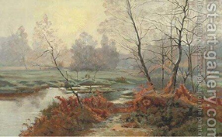 A woodland stream by Albert Gabriel Rigolot - Reproduction Oil Painting