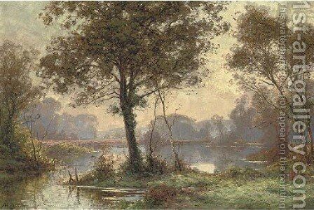 At the lake in the forest, dawn by Albert Gabriel Rigolot - Reproduction Oil Painting