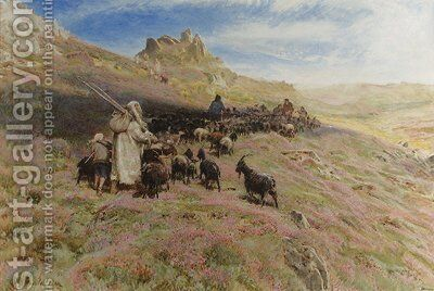 A shepherd with a flock of goats on a mountainside by Albert Goodwin - Reproduction Oil Painting