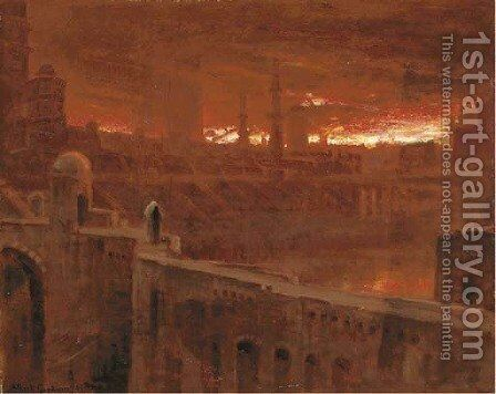 Christian leaving the City of Destruction 'The people that walked in darkness etc.' by Albert Goodwin - Reproduction Oil Painting