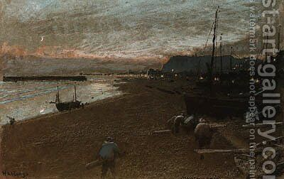 Hastings, East Sussex by Albert Goodwin - Reproduction Oil Painting