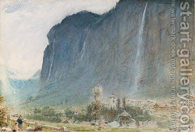 Lauterbrunnen Valley, Switzerland by Albert Goodwin - Reproduction Oil Painting