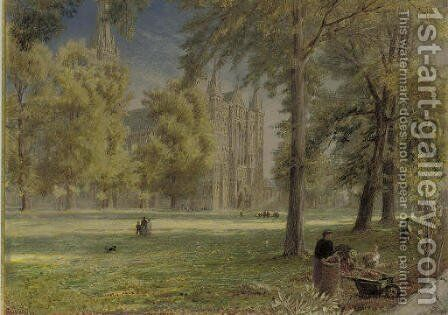 Salisbury Cathedral 2 by Albert Goodwin - Reproduction Oil Painting