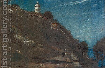 The lighthouse, Sollis, Majorca by Albert Goodwin - Reproduction Oil Painting