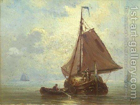 A haybarge in a calm by Albert Jurardus van Prooijen - Reproduction Oil Painting