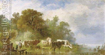 Cattle by the waterside by Albert Jurardus van Prooijen - Reproduction Oil Painting