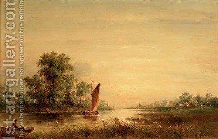 On a river at sunset by Albert Jurardus van Prooijen - Reproduction Oil Painting