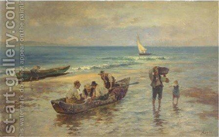 Unloading the catch by Albert Kappis - Reproduction Oil Painting