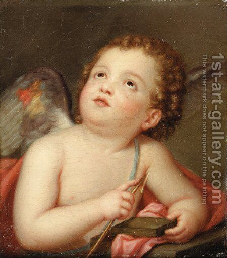 A putto holding an arrow by Albert Krafft - Reproduction Oil Painting