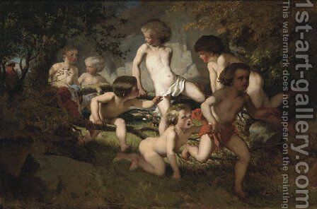 Bathing boys frightened by a gypsy by Albert Ludovici - Reproduction Oil Painting
