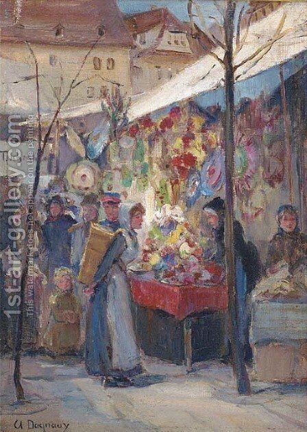 Market day by Albert Marie Adolphe Dagnaux - Reproduction Oil Painting
