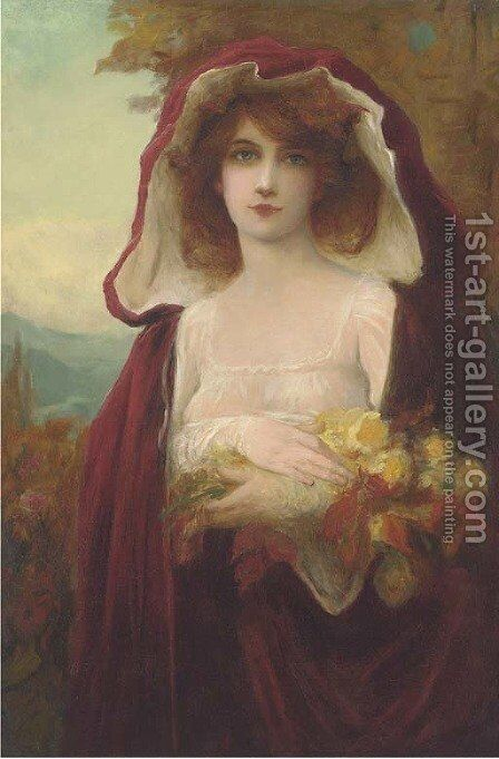 The flower girl by Albert Matignon - Reproduction Oil Painting