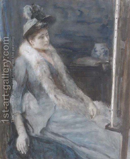 Admiring the artist's work a lady in an artist's studio by Albert Neuhuys - Reproduction Oil Painting