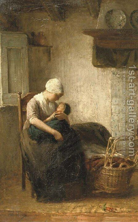 Motherly love by Albert Neuhuys - Reproduction Oil Painting