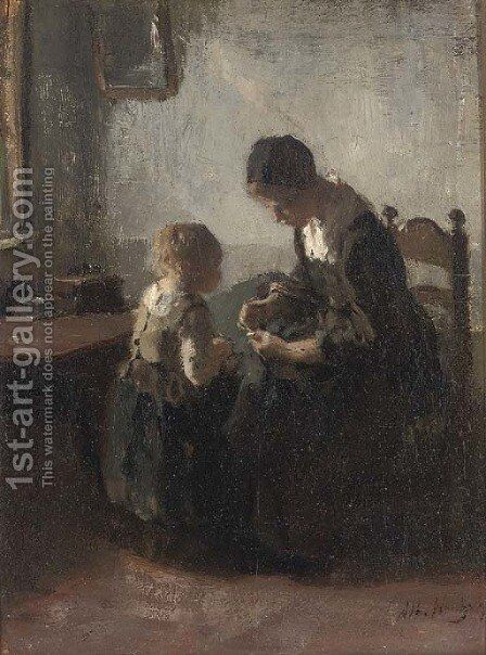The first lesson by Albert Neuhuys - Reproduction Oil Painting