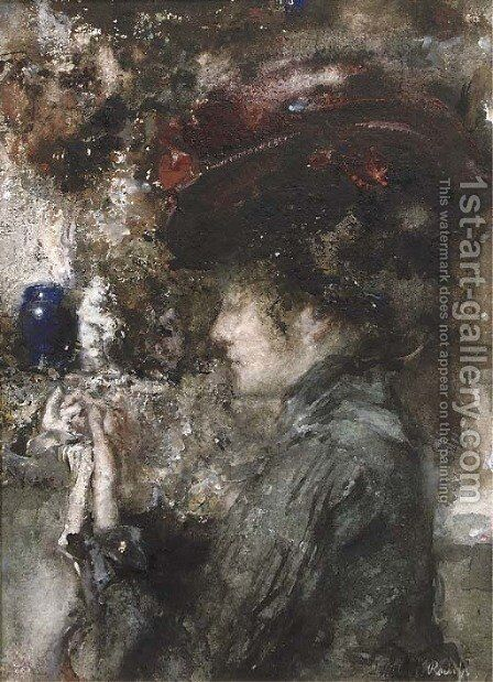 An elegant lady wearing a red hat by Albert Roelofs - Reproduction Oil Painting