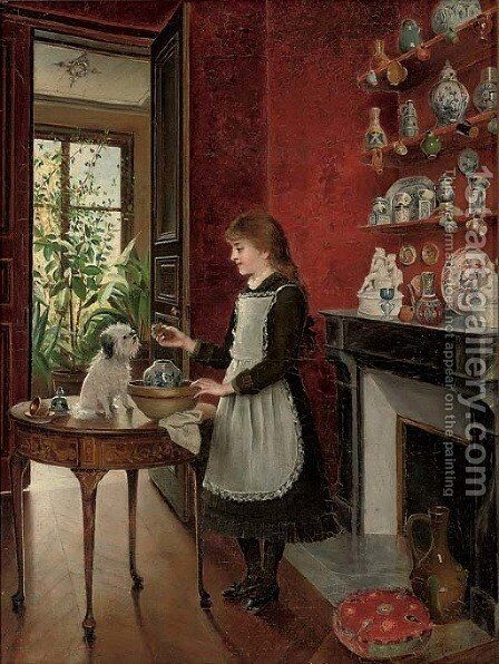Young girl with her dog by Albert Roosenboom - Reproduction Oil Painting