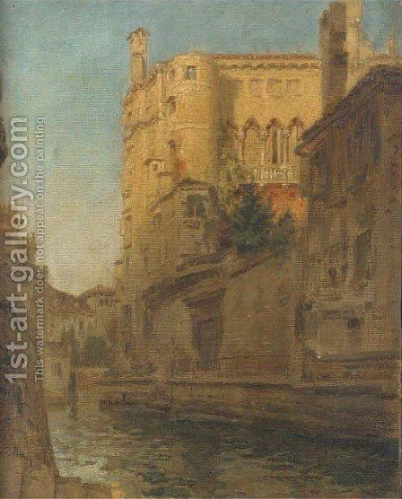 A Venetian backwater, late afternoon by Albert Tschautsch - Reproduction Oil Painting