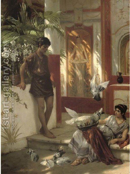 Feeding the doves in an Atrium by Albert Tschautsch - Reproduction Oil Painting