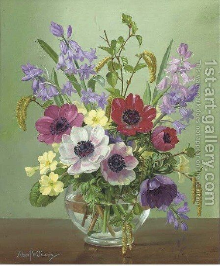 Anenomes, bluebells, primroses and catkins in a glass bowl by Alfred Walter Williams - Reproduction Oil Painting