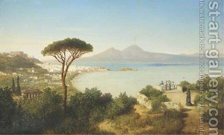 Elegant ladies overlooking the bay of Naples, Italy by August Albert Zimmermann - Reproduction Oil Painting