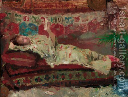 A reclining lady in a kimono by Albert Emile Artigue - Reproduction Oil Painting
