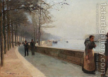 The promenade along the Seine by Albert Marie Adolphe Dagnaux - Reproduction Oil Painting