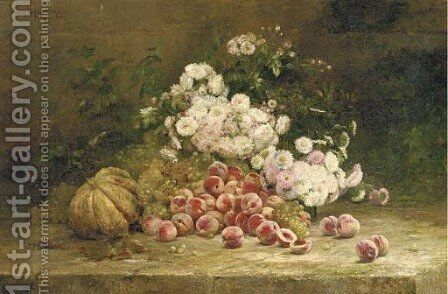 Summer flowers and fruit on a stone ledge by Albert-Tibulle Furcy De Lavault - Reproduction Oil Painting