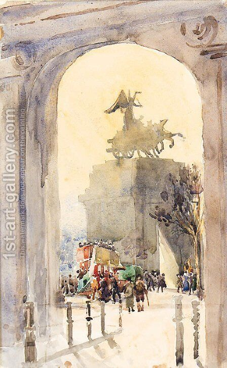 The Quadriga, Hyde Park by Albert Ludovici - Reproduction Oil Painting