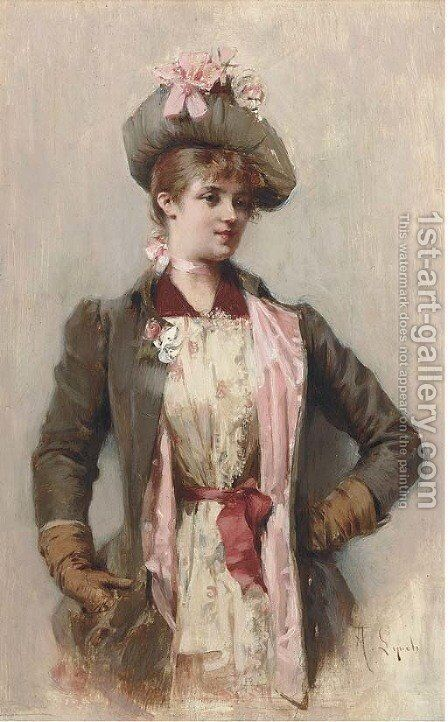 A young lady in a coat and hat with a pink bow by Albert Lynch - Reproduction Oil Painting