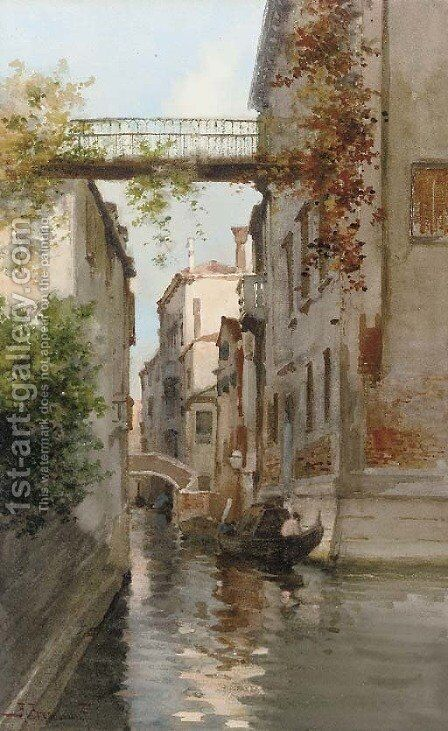 On the lagoon in Venice by Alberto Prosdocimi - Reproduction Oil Painting