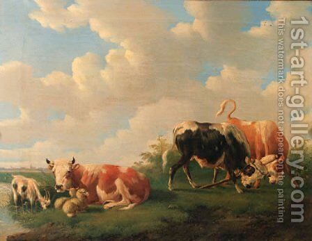 Cattle in a meadow by Albertus Verhoesen - Reproduction Oil Painting