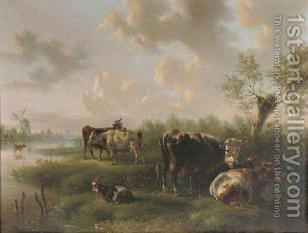 Cattle in a polder landscape by Albertus Verhoesen - Reproduction Oil Painting
