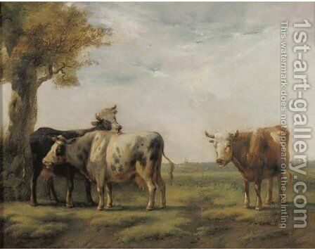 Cattle in a sunlit landscape by Albertus Verhoesen - Reproduction Oil Painting