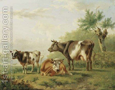 Cows by a fence by Albertus Verhoesen - Reproduction Oil Painting