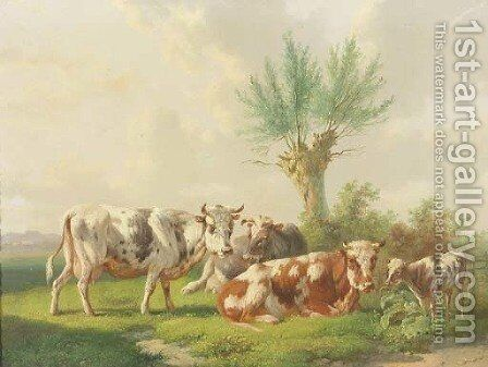 Cows in a field by Albertus Verhoesen - Reproduction Oil Painting