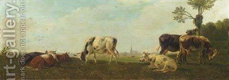 Cows in a panoramic polderlandscape by Albertus Verhoesen - Reproduction Oil Painting