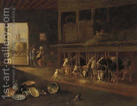 Pedling the pots by Albertus Verhoesen - Reproduction Oil Painting