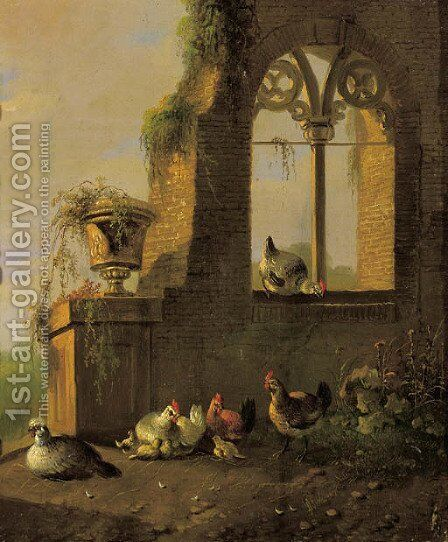 Poultry by a ruin 2 by Albertus Verhoesen - Reproduction Oil Painting