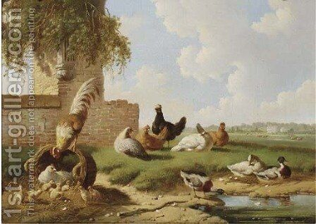 Poultry by a ruin, a country house in the distance by Albertus Verhoesen - Reproduction Oil Painting