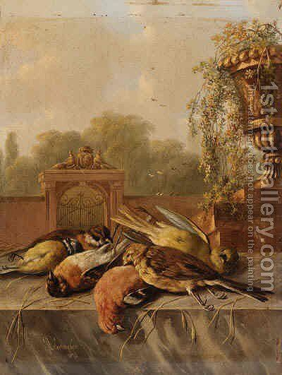 Still Life of Birds on a Ledge by Albertus Verhoesen - Reproduction Oil Painting
