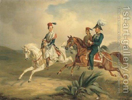 King Otto of Greece on Horseback with the Parthenon beyond by Albrecht Adam - Reproduction Oil Painting