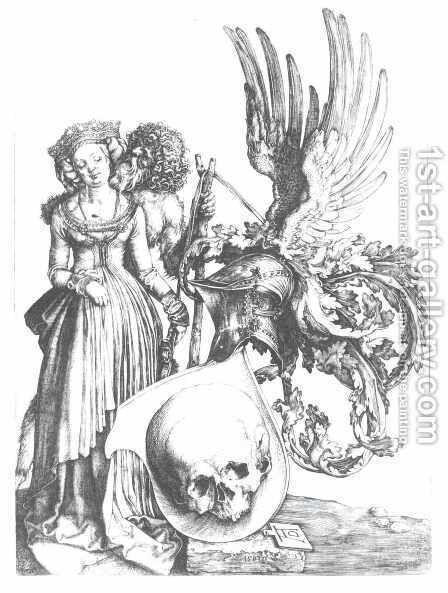 Coat of Arms with a Skull 2 by Albrecht Durer - Reproduction Oil Painting